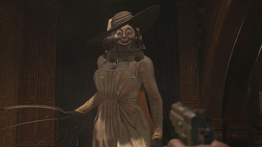 Lady Dimitrescu from Resident Evil Village. Her face hsa been swapped for Thomas the Tank Engine's