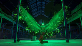 A still of a large green bird man from the Stranger Danger story ark in Last Stop.
