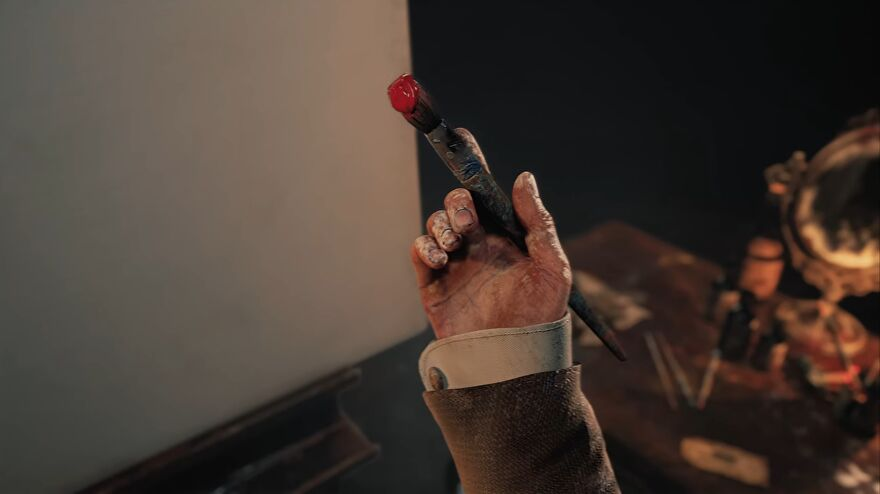 Layers Of Fear 3 teaser trailer - A man's hand holds a paint brush that drips red paint onto his hand