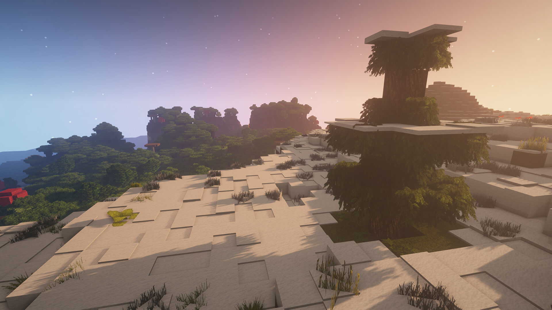 A Minecraft screenshot of a landscape displayed using the Epic Adventures Texture Pack.