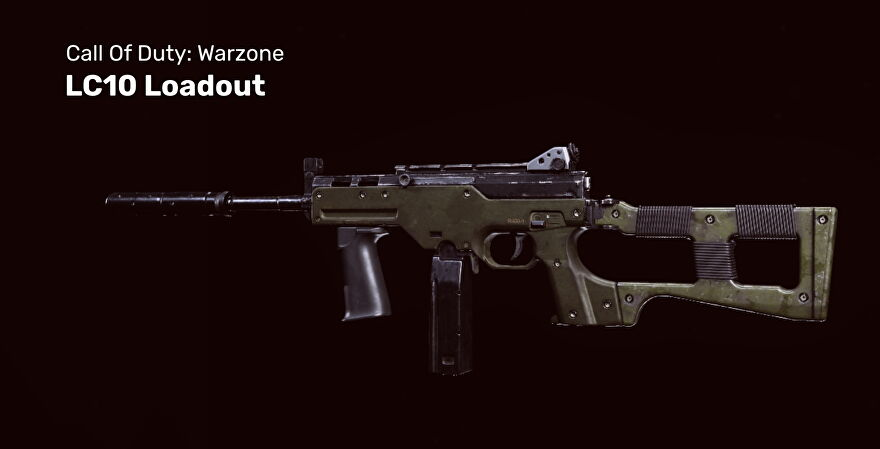 Warzone's LC10 gun on a black background.