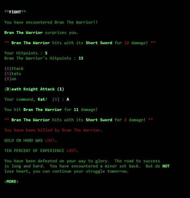 A screenshot of the Legend Of The Red Dragon text adventure in GEAR LORD. The player character, Kat, has been ambushed and killed by Bran The Warrior
