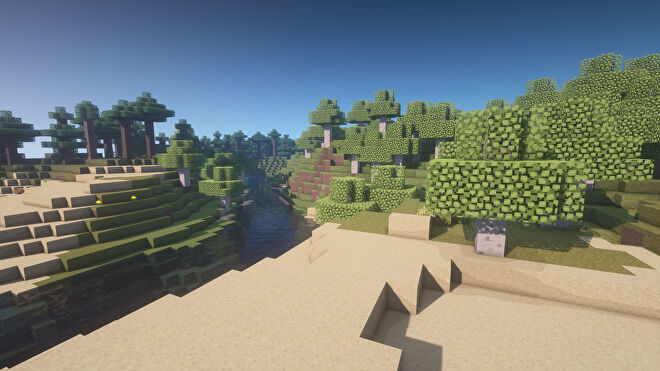 A Minecraft screenshot of a landscape displayed using the Legend Texture Pack.