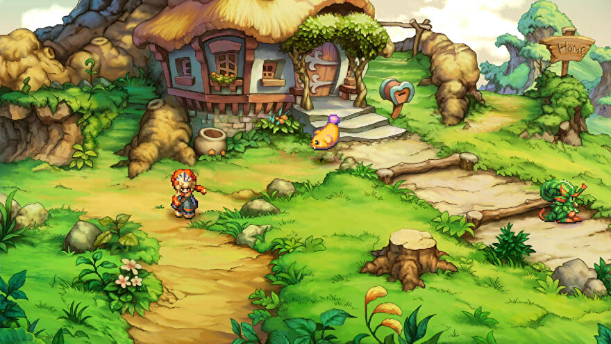 A lovely house in a Legend of Mana remaster screenshot.