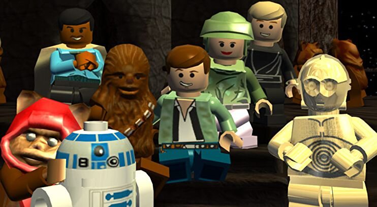 Han, Chewbacca, C3-P0, R2-D2, Lando, Luke, Wicket, and Leia all pose for the camera.