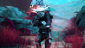 An alien-looking guy with a cool gun near some red grass in Lemnis Gate.