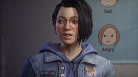 """Life Is Strange: True Colors - Main character Alex Chen sits, talking, in front of a poster with drawn faces labeled """"Sad"""" and """"Angry"""""""