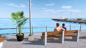 A couple look out over the sea from a bench on a pier in the LIFE sim series.