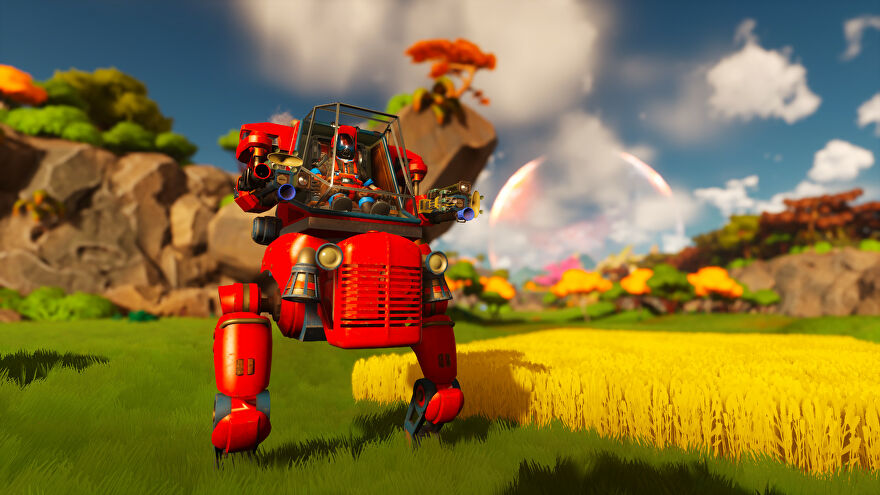 A screenshot of Lightyear Frontier showing a red mech standing in a field next to a square of yellow crops.