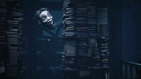 Mono from Little Nightmares II is climbing on a stack of books, while hiding from a late middle aged woman's head, which is on a long, prehensile neck weaving between shelves.