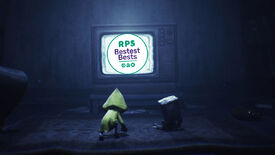 Six and Mono crouch in front of an old CRT TV screen, which is showing the RPS Bestest Best sticker, because their game has been awarded said title.
