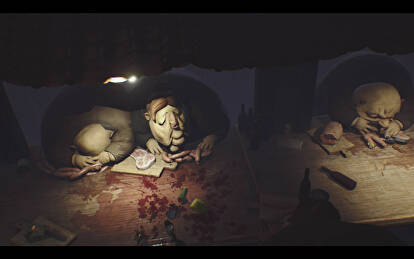 Large, obese passengers devour steak and sausages in Little Nightmares