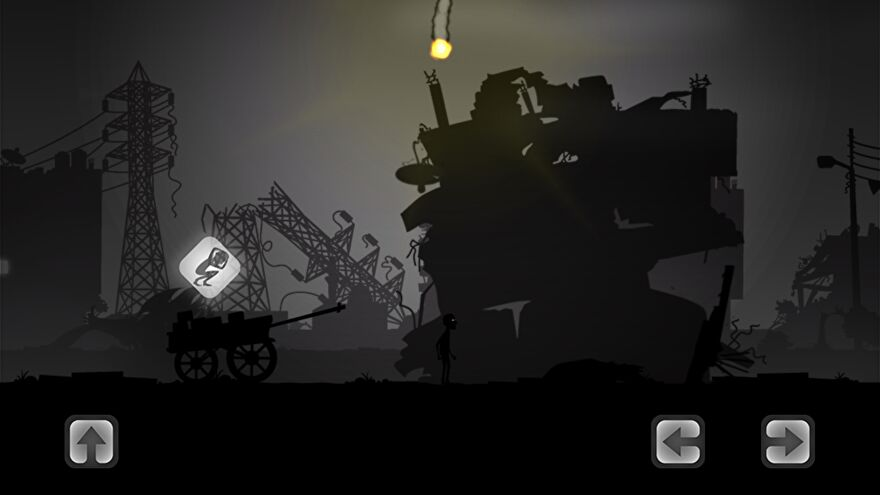 Liyla And The Shadows Of War - A silhouetted character stands in front of a destroyed building, beside a cart with a symbol above it indicating taking shelter.