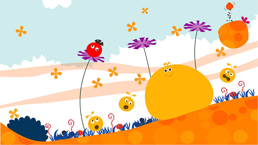 A screenshot from Loco Roco, showing a big yellow blob with eyes, three smaller yellow blob with eyes, anda  red blob with eyes atop one of three purple flowers.