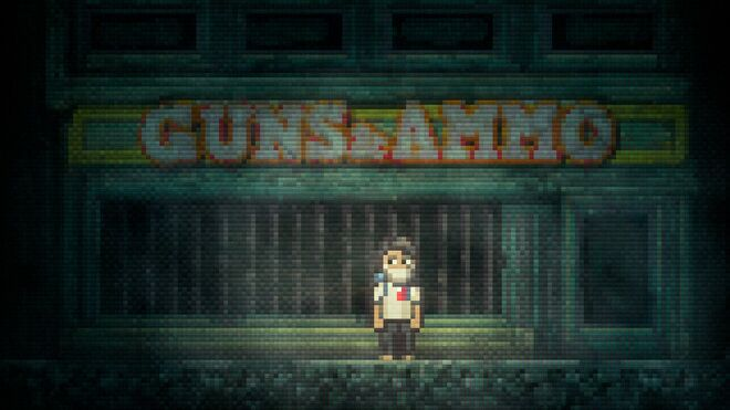 The protagonist of Lone Survivor stands outside a decrepit store with a sign reading GUNS & AMMO