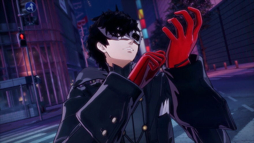 Joker adjusts his gloves before infiltrating the Shibuya jail in Persona 5 Strikers.