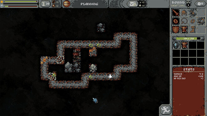 A screenshot from the Loop Hero video game that shows the planning stages of the game