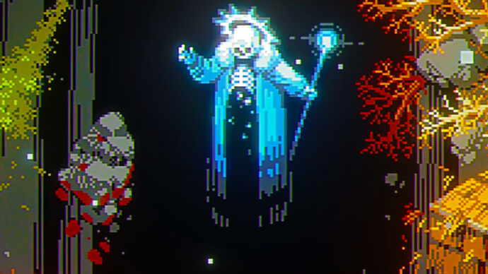 The Lich from video game Loop Hero levitating in the air