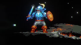 The adventurer from Loop Hero stood with their back to the camera, wearing blue armour.