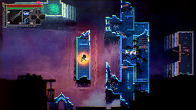 A screenshot of Loot River, a topdown 2D action game, depicting the protagonist on a rectangular platform surrounded by water. A nearby platform is covered in inky black demons.