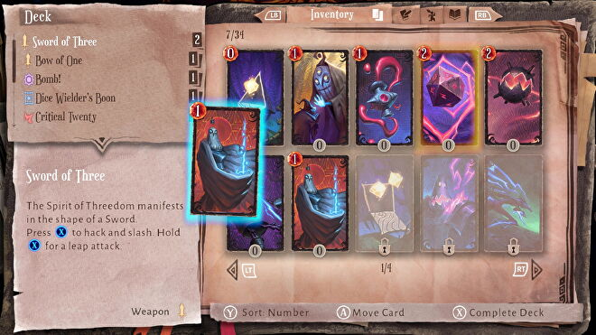 A view of the player's deck in Lost In Random.