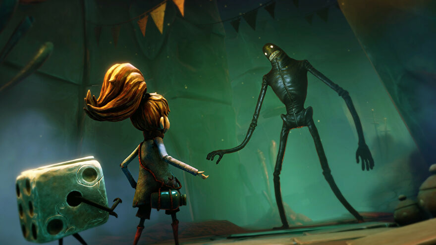 A screenshot of Lost In Random, showing protagonist Even and her pal Dicey looking at a strange, teeth-bearing giant with a zipper up his tummy.