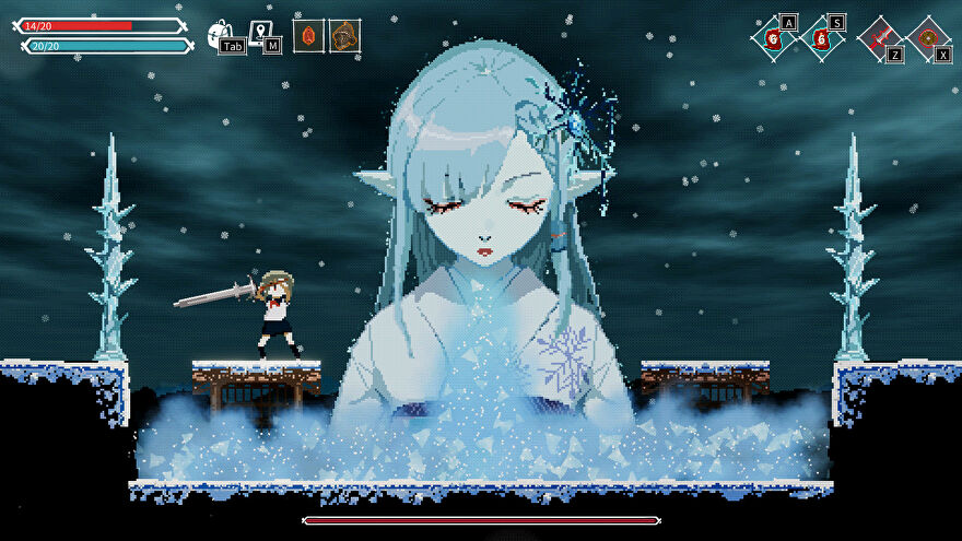 A screenshot of Lost Ruins showing a 2D icy environment, on the left of which is a small schoolgirl and in the centre of which is a giant ice lady.