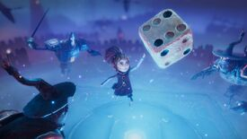 Even, a girl of about 11, leaps in the air above a blue light, having just thrown a giant six-sided die, in a screenshot from Lost In Random