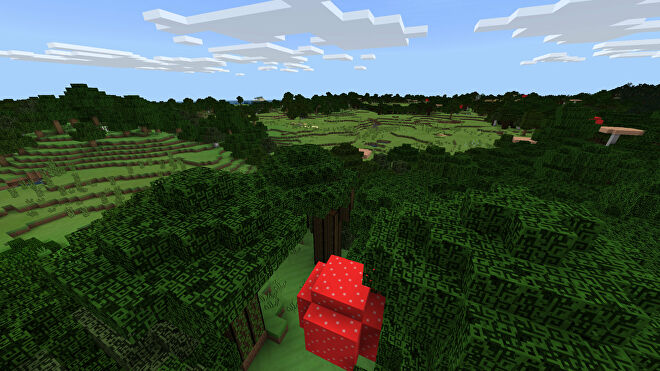 A Minecraft Bedrock screenshot of a landscape displayed using the Love and Tolerance Texture Pack.
