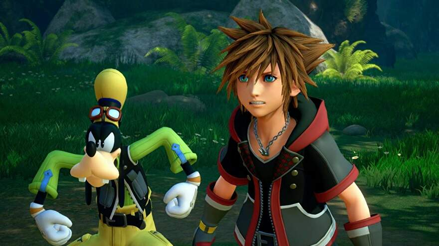 Goofy squares up like a tough guy with Sora next to him.