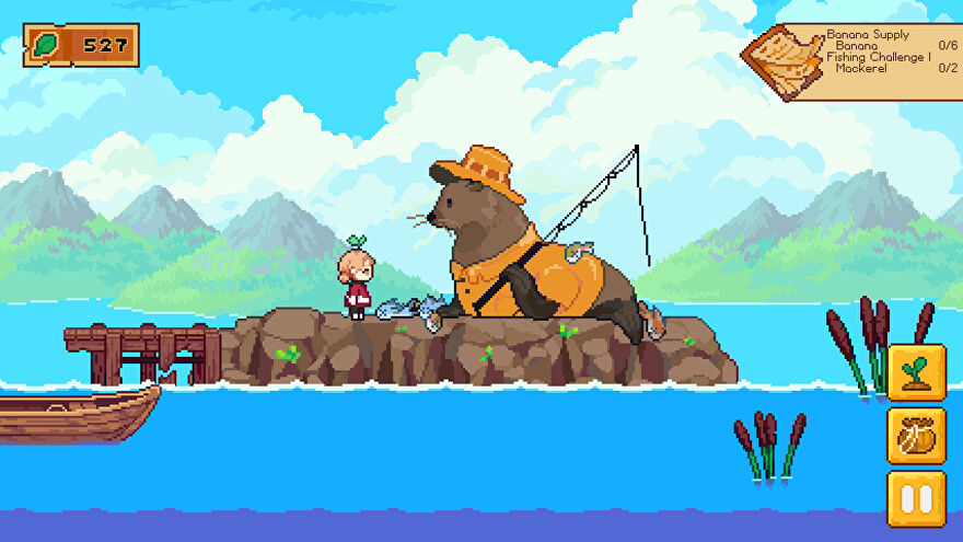 Luna's Fishing Garden - Main character Cassie stands on a rocky island beside a giant seal wearing a raincoat and cap and holding a fishing rod.