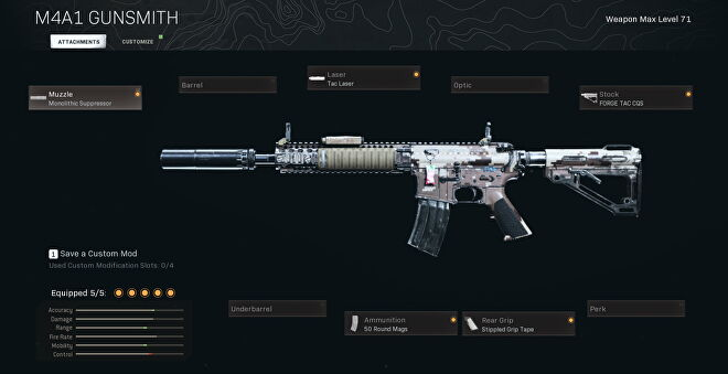 The M4A1 with a monolithic suppressor, tac laser, forge tac cqs, 50 round mags, and stippled grip tape attached.