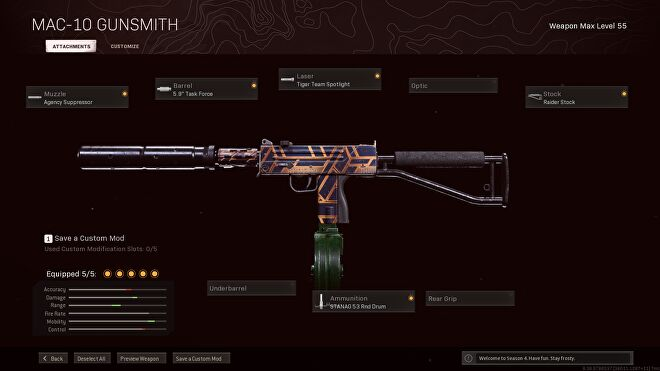 A MAC-10 loadout in Call of Duty: Warzone