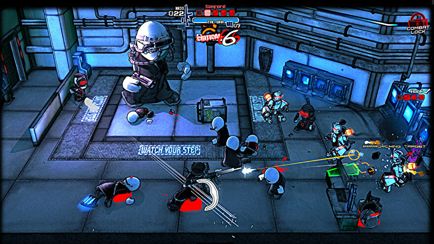 A screenshot of Madness: Project Nexus showing a view of a lab from above, in which player holding a machinegun is battling various goons.