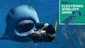 A screenshot of shark game Maneater, in which the shark is pursuing a scuba diver in the foreground. The top right of the image shows the Electronic Wireless Show logo, including Horace the bear.