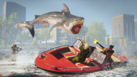 A shark jumping over a boat in a Maneater screenshot.