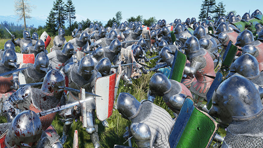 A screenshot of Manor Lords, an RTS/citybuilder, depicting men in medieval armour doing close quarters battle with swords and shields.