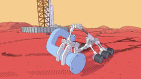 A screenshot of Mars First Logistics showing a six-wheeled robot with a large arm carrying a pipe across the red surface of Mars.