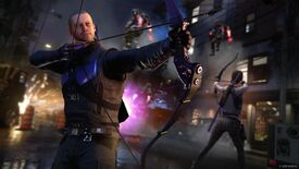 An image of Marvel's Avengers DLC Operation Hawkeye: Future Imperfect, showing Hawkeye (Clint Barton) in the foreground with an arrow loaded, and Kate Bishop in the background doing the same.