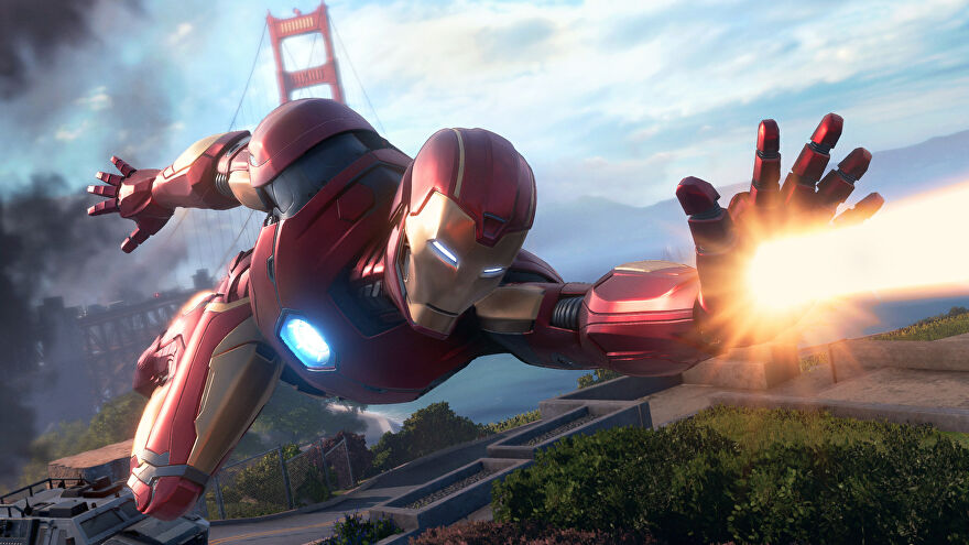 Iron Man zooming about in Marvel's Avengers.