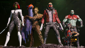 The team pose in a screenshot from Marvel's Guardians of the Galaxy.