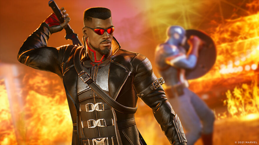 Blade and Captain America in a Marvel's Midnight Suns screenshot.