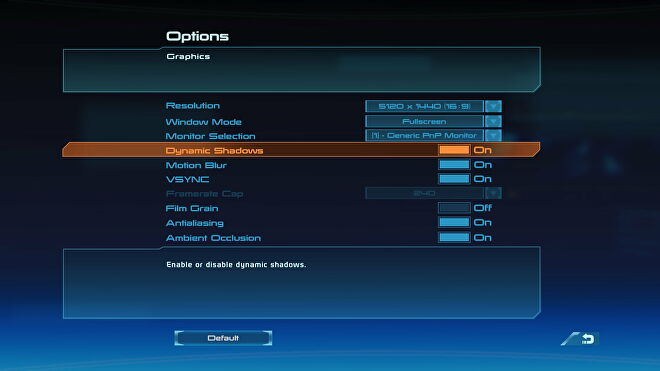 The PC settings menu for Mass Effect 1 in Mass Effect Legendary Edition