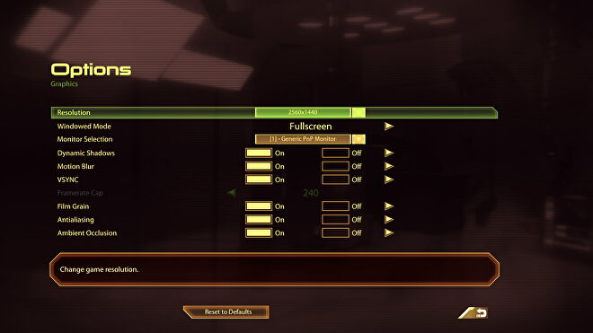 The PC settings menu for Mass Effect 2 in Mass Effect Legendary Edition