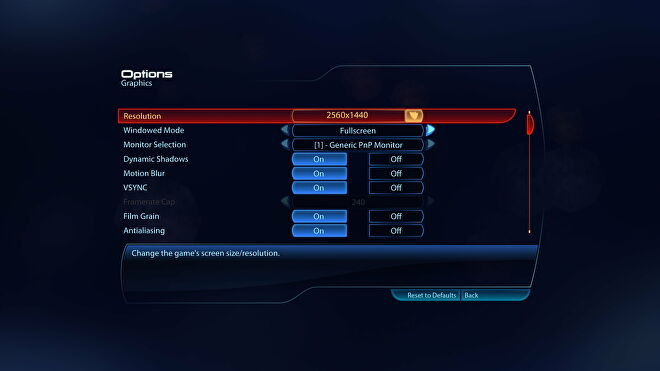 The PC settings menu for Mass Effect 3 in Mass Effect Legendary Edition