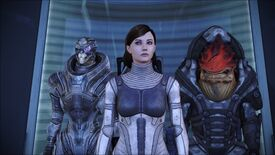 Shepard, Garrus and Wrex hanging out in a Mass Effect elevator.