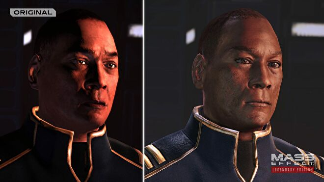 A screenshot comparing the original Mass Effect to the remastered graphics of Mass Effect: Legendary Edition. The comparison is of Captain David Anderson.
