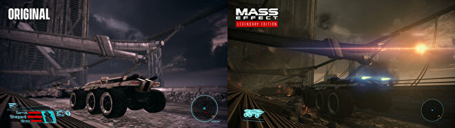 Mass Effect: Legendary Edition screenshot comparing the original and remastered Feros.