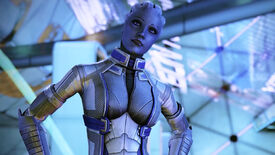 A still from the Mass Effect: Legendary Edition trailer that shows Liara standing in front of some blue background