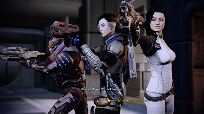 Miranda's loyalty mission in Mass Effect 2, the squad are aiming their guns at a trecherous dude.